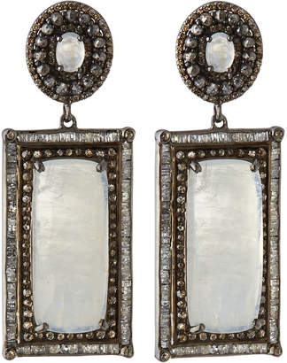 Bavna Silver Rectangular Drop Earrings with Diamonds & Rainbow Moonstone