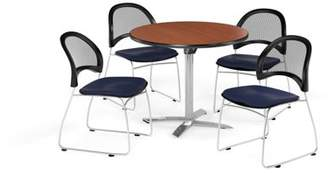 """OFM Multi-Use Break Room Package, 36"""" Round Flip-Top Table with Moon Stack Chairs, Cherry Finish with Black Seats (PKG-BRK-169)"""