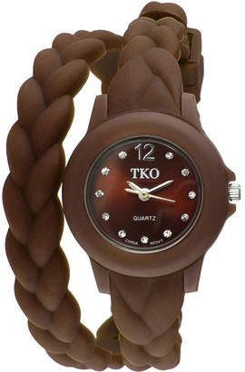 JCPenney TKO ORLOGI Womens Crystal-Accent Braided Brown Silicone Strap Wrap Watch