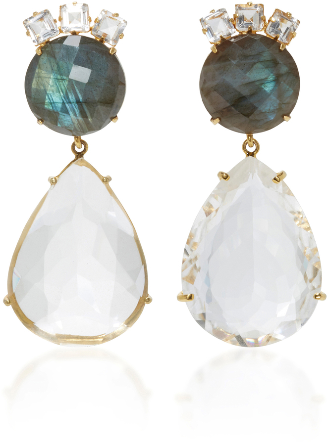 Bounkit Bounkit Labradorite and Clear Quartz Two-Way Earrings