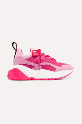 Stella McCartney Eclypse Faux Leather, Faux Suede And Neoprene Sneakers - Pink