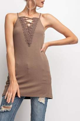 Easel Stretchy Lace-Up Cami
