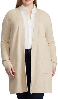 Chaps Plus Open-Front Cotton Blend Cardigan