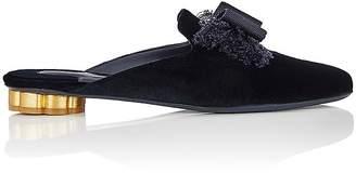 Salvatore Ferragamo Women's Flower-Heel Velvet Mules