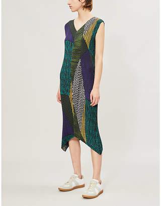 Issey Miyake Contrast-Stripe Pleated Crepe Dress