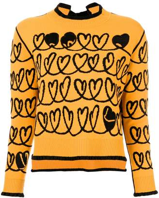Fendi heart embroidered sweater with cut-out details