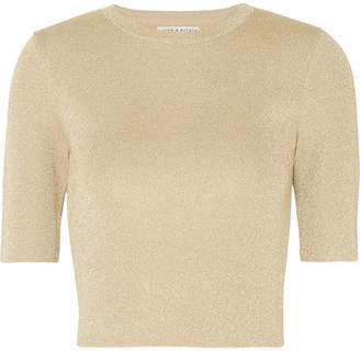 Alice + Olivia Alice Olivia - Ciara Metallic Wool-blend Top - Gold