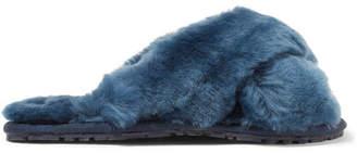 Double Rainbouu - Shearling Slides - Storm blue