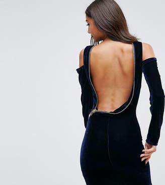 Asos Tall TALL Velvet Open Zip Back Bodycon Mini Dress