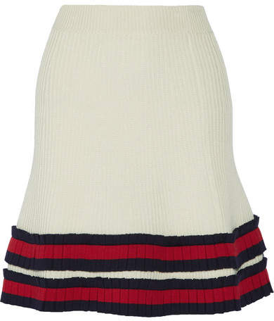 Gucci - Pleated Ribbed Wool Mini Skirt - Ivory