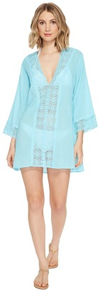 La Blanca - Island Fare V-Neck Tunic Cover-Up Women's Blouse $99 thestylecure.com