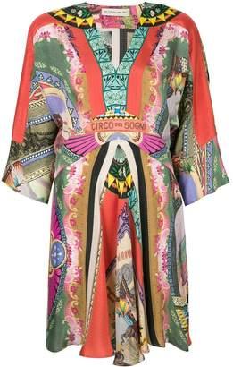 Etro circus print V-neck dress