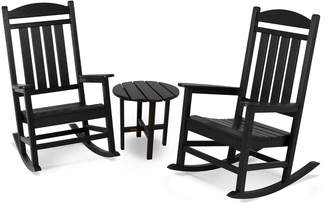 Polywood 3-piece Presidential Outdoor Rocking Chair & Round Side Table Set