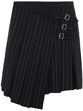 McQ Wrap-Effect Pleated Pinstriped Woven Mini Skirt