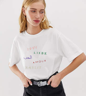 Monki Love embroidery organic cotton t-shirt in white