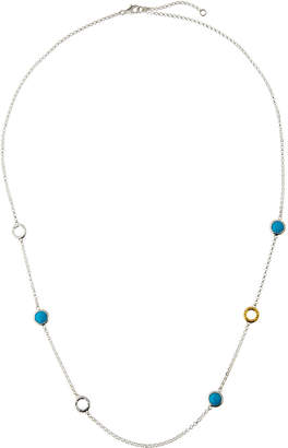 Gurhan Galapagos Long Two-Tone Hoop Turquoise Station Necklace