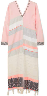 Lemlem Tereza Embroidered Striped Cotton And Wool-blend Gauze Kaftan - Peach