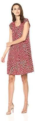 Gabby Skye Women's Gabby SkyeShort Sleeve Red and Multi Printed Shift Dress