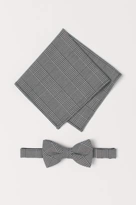 H&M Checked Bow Tie&Handkerchief - Black