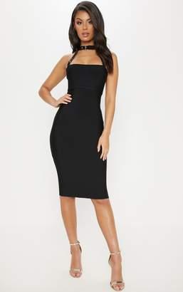 PrettyLittleThing Black Bandage Buckle Strap Midi Dress