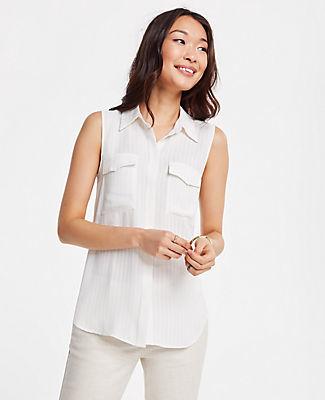 Ann Taylor Petite Striped Sleeveless Camp Shirt