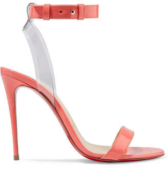 Christian Louboutin Jonatina 100 Pvc-trimmed Patent-leather Sandals - Peach