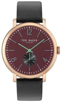 Ted Baker Oliver Leather Strap Watch, 42mm