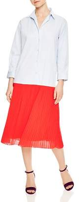 Sandro Janine Two-Tone Pleated Shirt Dress