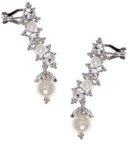 Marchesa Faux Pearl & Crystal Crawler Earrings