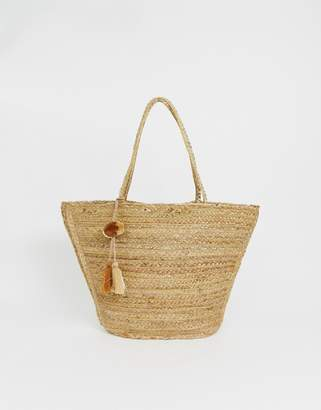 America & Beyond jute basket bag with pom