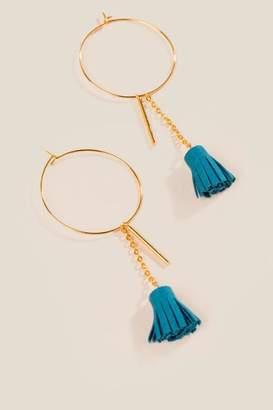 francesca's Maizy Tassel Hoop Earrings - Teal