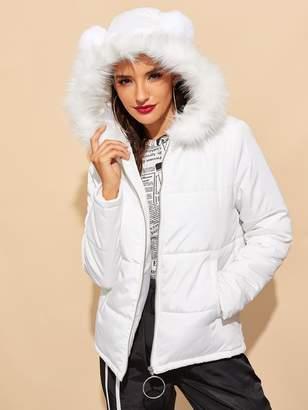 Shein Faux Fur Detail O-ring Zip Up Puffer Coat