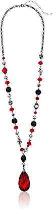 Fashion Faceted Glass Bead Drop Statement Black/Siver Tone Y-Shaped Necklace