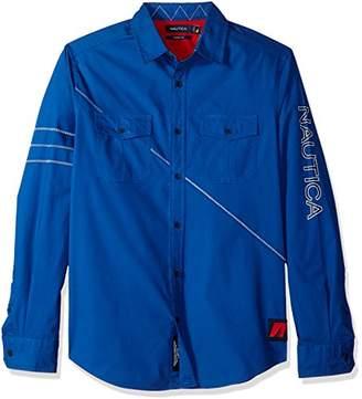 Nautica Men's Classic Fit Long Sleeve Heritage Logo Button Down Shirt