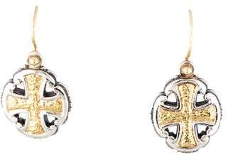Konstantino Two-Tone Cross Disc Earrings
