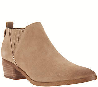 Marc Fisher Suede Ankle Boots with Stacked Heel- Wilde