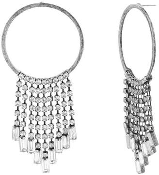Steve Madden Crystal Fringe Chain Hoop Earrings