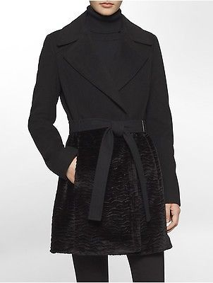 Calvin KleinCalvin Klein Womens Wool Faux Fur Coat Jacket