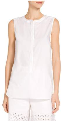St. John Solid Stretch Shirting Jewel Neck Hi Lo Top