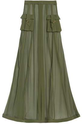 Balmain Crepe-Trimmed Silk-Chiffon Maxi Skirt