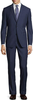 Neiman Marcus Two-Button Textured Two-Piece Suit, Navy