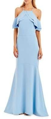 Nicole Miller Halterneck Cold-Shoulder Gown