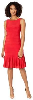 Adrianna Papell Matte Jersey Pintucked Midi Sheath Dress with Flounced Hem