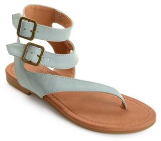 Co Brinley Womens Faux Leather Buckle Double Wrap Thong Sandals