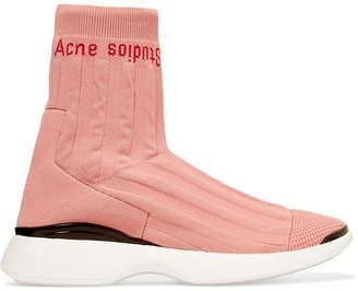 Acne Studios Batilda Mesh-trimmed Logo-jacquard Stretch-knit Sneakers - Pastel pink