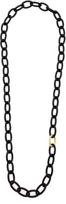 Antonia Miletto Carved Ebony Wood Oval Link Chain Necklace