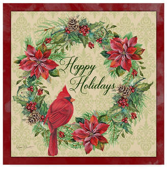 """Jean Plout 'Happy Holidays Wreath' Canvas Art - 35"""" x 35"""""""