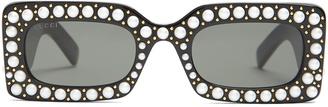 Faux-pearl embellished acetate sunglasses