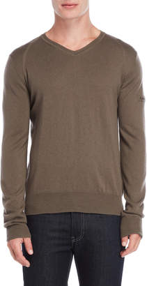 Peuterey Olive Printed Elbow Patch V-Neck Sweater
