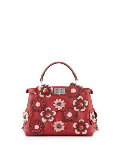 FendiFendi Peekaboo Mini Allover Flower Satchel Bag, Red